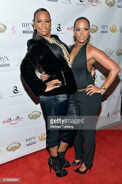 Actresses Jackie Christie and Sundy Carter attend the season premiere party of the reality show Basketball Wives LA at Allure Studios on February 17...