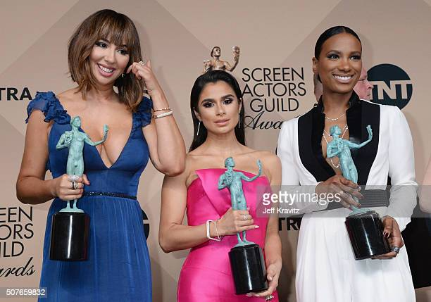 Actresses Jackie Cruz Diane Guerrero and Vicky Jeudy winners of the Outstanding Performance by an Ensemble in a Comedy Series award pose in the press...