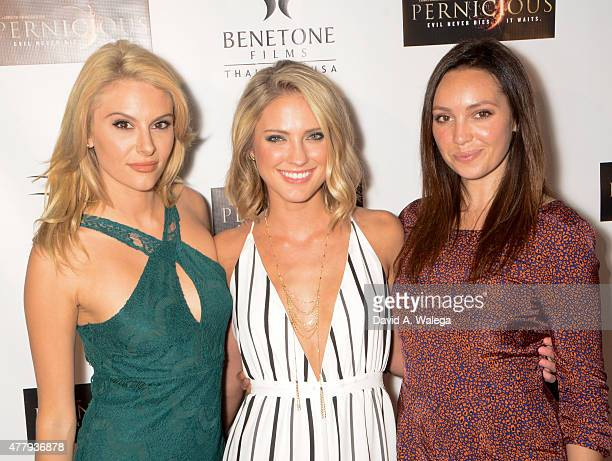 Actresses Jackie Moore Ciara Hanna and Emily O'Brien attend the 'Pernicious' premiere at Arena Cinema Hollywood on June 19 2015 in Hollywood...