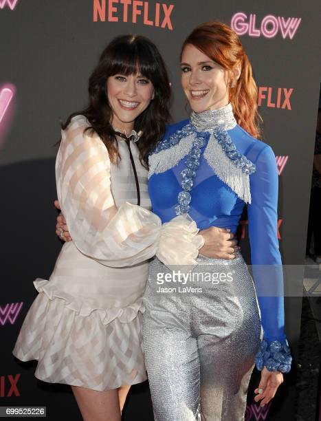 Actresses Jackie Tohn and Kate Nash attend the premiere of 'GLOW' at The Cinerama Dome on June 21 2017 in Los Angeles California