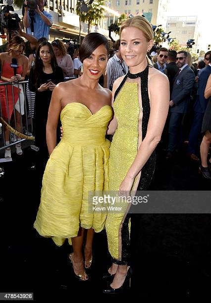 Actresses Jada Pinkett Smith and Elizabeth Banks attend the premiere of Warner Bros Pictures' 'Magic Mike XXL' at TCL Chinese Theatre IMAX on June 25...