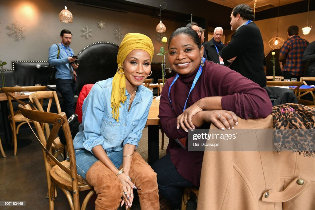 Actresses Jada Pinkett Smith (L) and Octavia Spencer attends the Feature Film Jury Orientation Breakfast during the 2018 Sundance Film Festival at Cafe Terigo on January 19, 2018 in Park City, Utah.