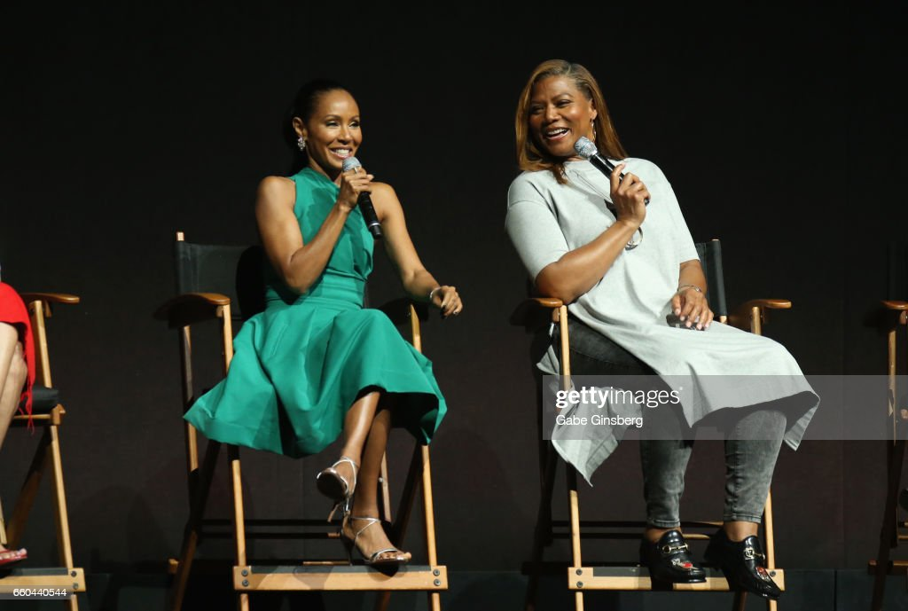 Actresses Jada Pinkett Smith (L) and Queen Latifah speak at the Universal Pictures' presentation during CinemaCon at The Colosseum at Caesars Palace at on March 29, 2017 in Las Vegas, United States.