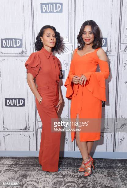 Actresses Jada Pinkett Smith and Regina Hall visit the Build Series to discuss the movie Girls Trip at Build Studio on July 17 2017 in New York City