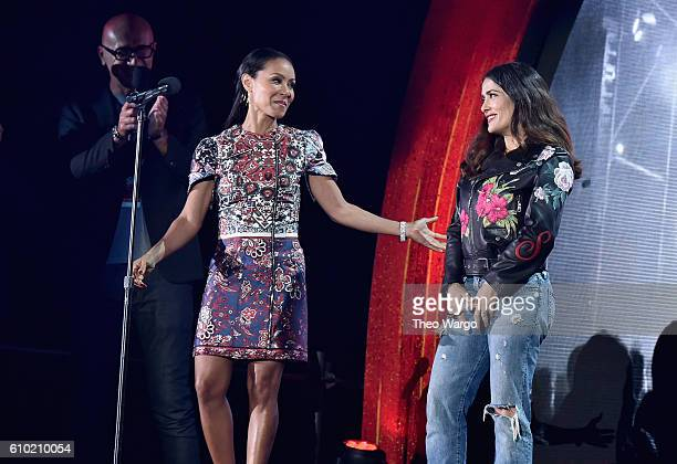 Actresses Jada Pinkett Smith and Salma Hayek speak onstage at the 2016 Global Citizen Festival In Central Park To End Extreme Poverty By 2030 at...
