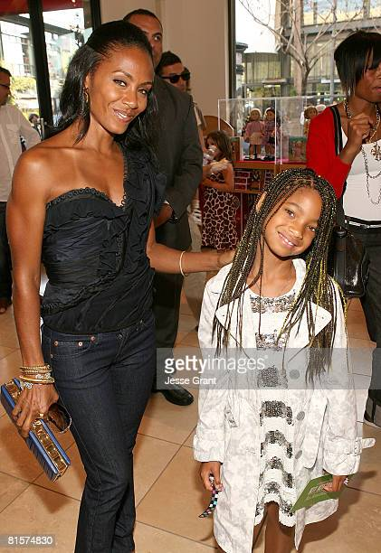 Actresses Jada Pinkett Smith and Willow Smith attend the after party for the premiere of Kit Kittredge An American Girl at the American Girl store at...