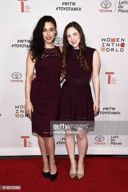 Actresses Jade Tailor and Brittany Curran arrive at the 2018 Women In The World Los Angeles Salon at NeueHouse Hollywood on February 13 2018 in Los...