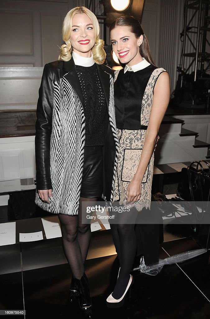 Actresses Jaime King (L) and Allison Williams attend Jason Wu during Fall 2013 Mercedes-Benz Fashion Week on February 8, 2013 in New York City.