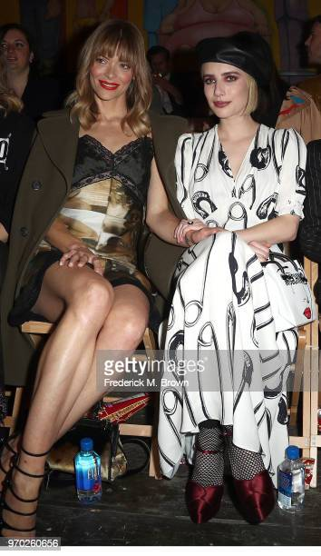 Actresses Jaime King and Emma Roberts attend Moschino Spring/Summer 19 Menswear and Women's Resort Collection at the Los Angeles Equestrian Center on...