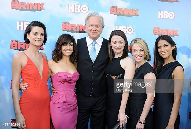 Actresses Jaimie Alexander Carla Gugino actor Tim Robbins actresses Maribeth Monroe Mary Faber and Melanie Kannokada arrive at the Premiere of HBO's...