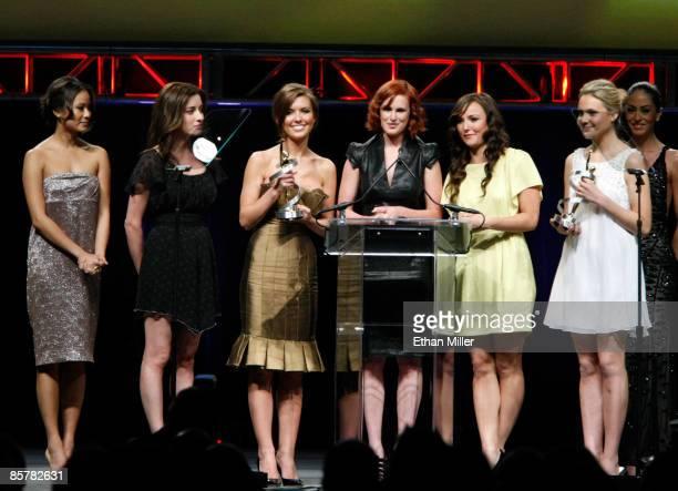 Actresses Jamie Chung, Margo Harshman, Audrina Patridge, Rumer Willis, Briana Evigan and Leah Pipes accept the Female Stars of Tomorrow Award during...