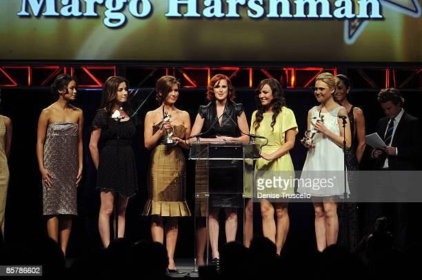 Actresses Jamie Chung, Margo Harshman, Audrina Patridge, Rumer Willis, Briana Evigan and Leah Pipes accept the award for Female Stars of Tomorrow at...