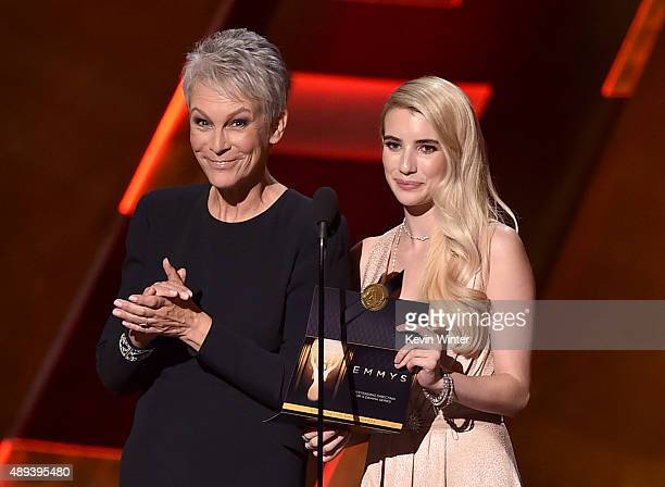 Actresses Jamie Lee Curtis and Emma Roberts speak onstage during the 67th Annual Primetime Emmy Awards at Microsoft Theater on September 20 2015 in...