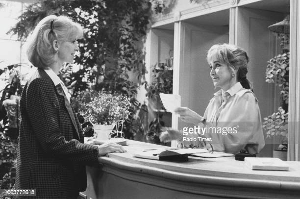 Actresses Jane Asher and Felicity Kendal in a scene from the television series 'The Mistress' September 27th 1986