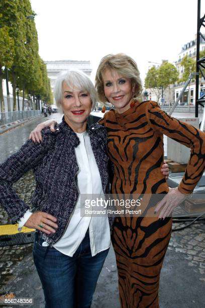 Actresses Jane Fonda and Helen Mirren attend 'Le Defile L'Oreal Paris show' as part of the Paris Fashion Week Womenswear Spring/Summer 2018 on...