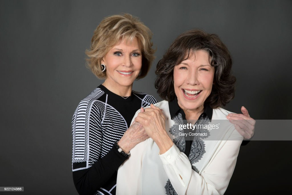 Actresses Jane Fonda and Lily Tomlin are photographed for Los Angeles Times on November 20, 2017 in Los Angeles, California. PUBLISHED IMAGE.