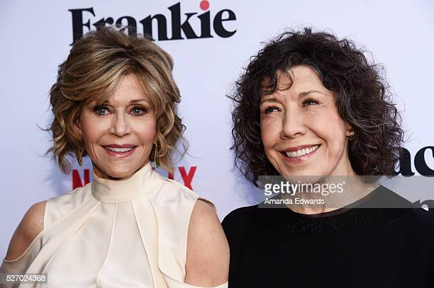 Actresses Jane Fonda and Lily Tomlin arrive at the Netflix Original Series Grace Frankie Season 2 premiere at Harmony Gold on May 1 2016 in Los...
