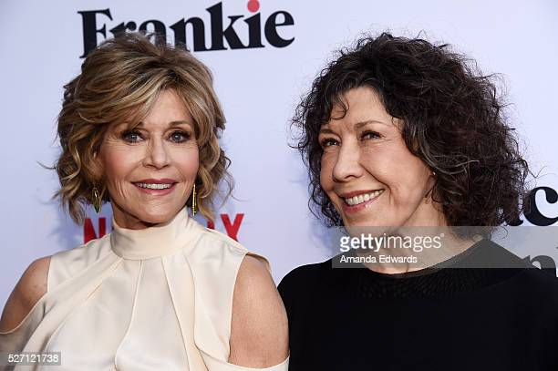 Actresses Jane Fonda and Lily Tomlin arrive at the Netflix Original Series Grace Frankie Season 2 premiere at the Harmony Gold Theater on May 1 2016...