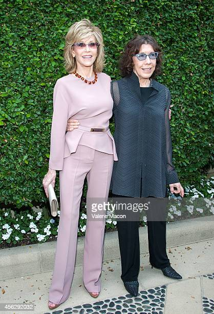 Actresses Jane Fonda and Lily Tomlin arrive at The Rape Foundation's Annual Brunchat Greenacres The Private Estate of Ron Burkle on September 28 2014...