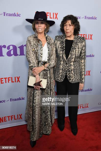 Actresses Jane Fonda and Lily Tomlin arrive for the Season 4 premiere of Netflix's 'Grace and Frankie' at the Arclight Theater in Culver City...