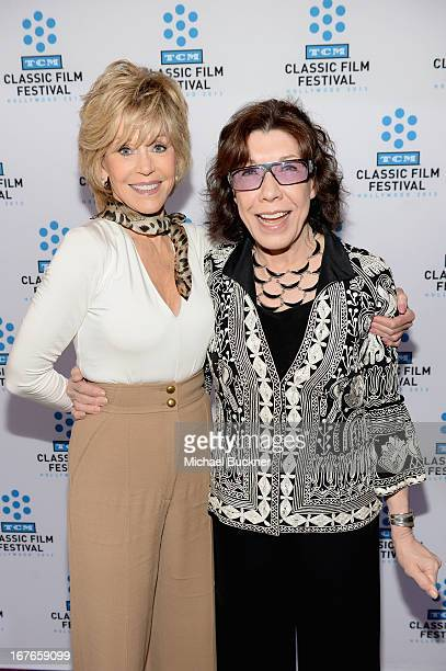 Actresses Jane Fonda and Lily Tomlin attend actress Jane Fonda's Handprint/Footprint Ceremony during the 2013 TCM Classic Film Festival at TCL...
