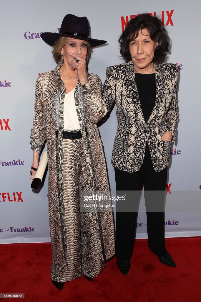 Actresses Jane Fonda (L) and Lily Tomlin attend the premiere of Netflix's 'Grace and Frankie' Season 4 at ArcLight Cinemas on January 18, 2018 in Culver City, California.