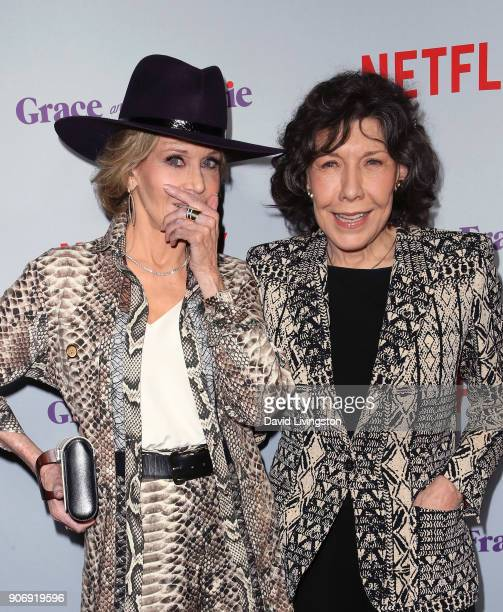 Actresses Jane Fonda and Lily Tomlin attend the premiere of Netflix's 'Grace and Frankie' Season 4 at ArcLight Cinemas on January 18 2018 in Culver...