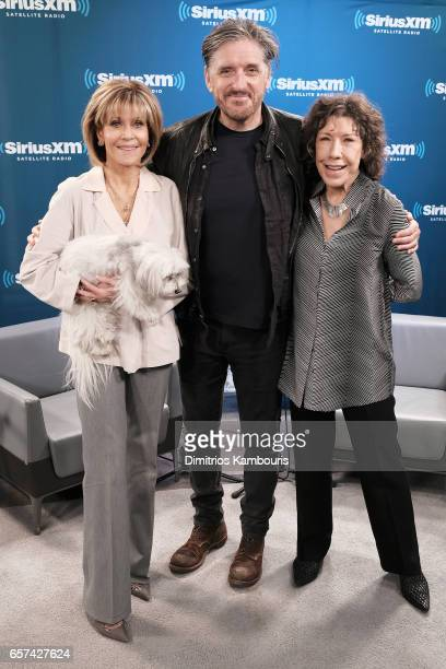 Actresses Jane Fonda and Lily Tomlin pose with SiriusXM host Craig Ferguson about the new season of their Netflix comedy Grace Frankie during a...