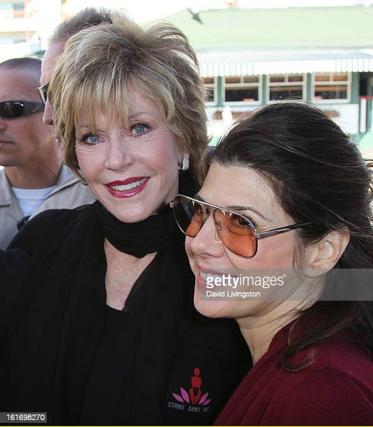 Actresses Jane Fonda and Marisa Tomei attend the kickoff for One Billion Rising in West Hollywood on February 14 2013 in West Hollywood California