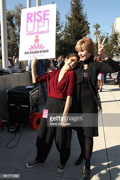 Actresses Jane Fonda and Marisa Tomei attend the kick-off for One Billion Rising in West Hollywood on February 14, 2013 in West Hollywood, California.
