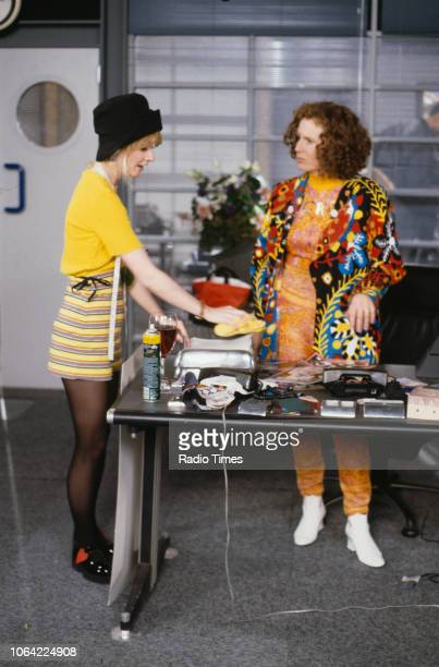 Actresses Jane Horrocks and Jennifer Saunders in a scene from episode 'Fashion' of the television sitcom 'Absolutely Fabulous', June 28th 1991.
