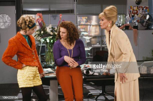 Actresses Jane Horrocks, Jennifer Saunders and Joanna Lumley in a scene from episode 'Fat' of the television sitcom 'Absolutely Fabulous', February...