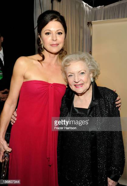 Actresses Jane Leeves and Betty White attend the 2012 People's Choice Awards at Nokia Theatre LA Live on January 11 2012 in Los Angeles California