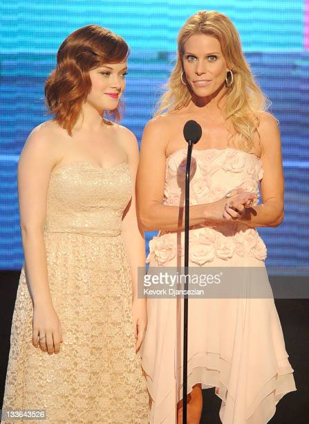 Actresses Jane Levy and Cheryl Hines speak onstage at the 2011 American Music Awards held at Nokia Theatre LA LIVE on November 20 2011 in Los Angeles...