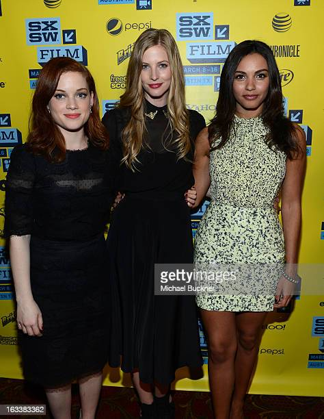 Actresses Jane Levy Elizabeth Blackmore and Jessica Lucas attend the screening of 'Evil Dead' during the 2013 SXSW Music Film Interactive Festival at...