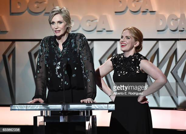 Actresses Jane Lynch and Anna Chlumsky speak onstage during the 69th Annual Directors Guild of America Awards at The Beverly Hilton Hotel on February...
