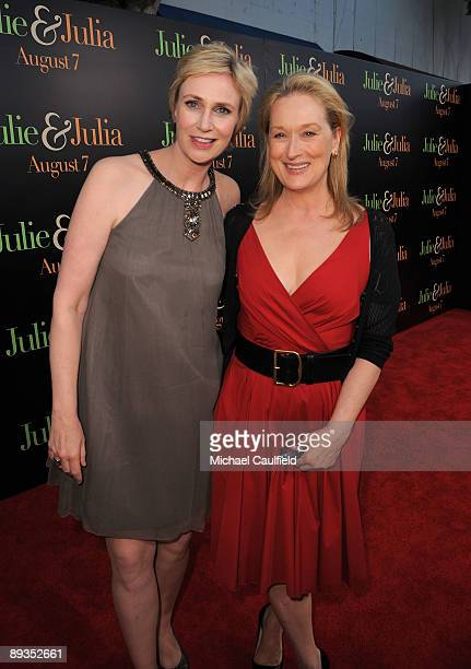 "Actresses Jane Lynch and Meryl Streep arrives at the ""Julie & Julia"" Los Angeles Special Screening held at Mann Village Theatre on July 27, 2009 in..."