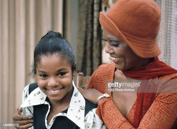 Actresses Janet Jackson and Ja'net Dubois appear in a scene from the CBS television comedy series GOOD TIMES in 1974 in Los Angeles CA