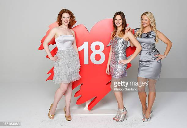 Actresses Janina Isabell Batoly Nicole Mieth and Jana Julia Kilka attend the 18th anniversary celebration of the TVshow 'Verbotene Liebe' on April 22...