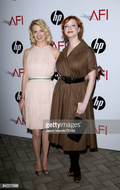 Actresses January Jones and Christina Hendricks arrive at the AFI Awards 2008 held at the Four Seasons Hotel on January 9, 2009 in Los Angeles,...