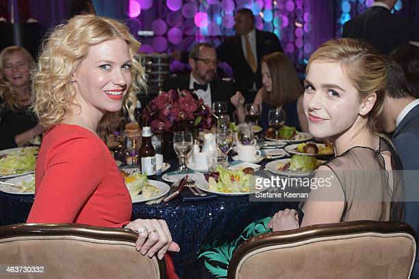 Actresses January Jones and Kiernan Shipka attend the 17th Costume Designers Guild Awards with presenting sponsor Lacoste at The Beverly Hilton Hotel...