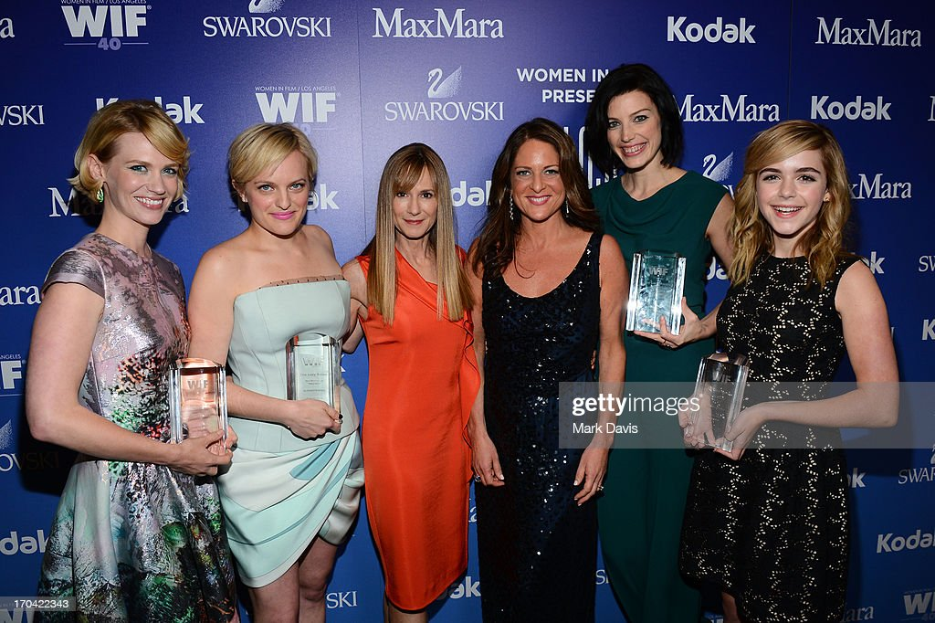 Actresses January Jones, Elisabeth Moss, Holly Hunter, president of Women in Film Cathy Schulman, Jessica Pare, and Kiernan Shipka, attend Women In Film's 2013 Crystal + Lucy Awards at The Beverly Hilton Hotel on June 12, 2013 in Beverly Hills, California.