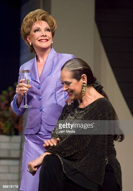Actresses Jaqueline Andere and Isaura Espinoza in action during the play 'Entre Mujeres' based on the work of Santiago Moncada at the July 11th...