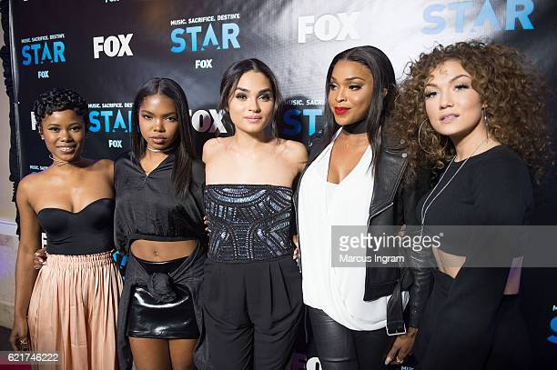 Actresses Jasmine Burke Ryan Destiny Brittany O'Grady Amiyah Scott and Jude Demorest attend the 'STAR' ATL Live On the Park screening at Park Tavern...