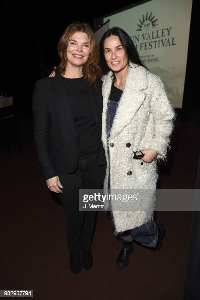 Actresses Jeanne Tripplehorn and Demi Moore during the 2018 Sun Valley Film Festival Coffee Talk with Jeanne Tripplehorn on March 16 2018 in Sun...