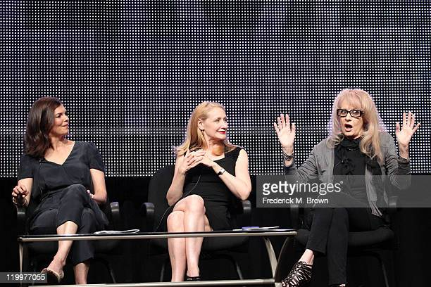 Actresses Jeanne Tripplehorn and Patricia Clarkson and director Penelope Spheeris speak during the 'Five' panel during the Lifetime portion of the...