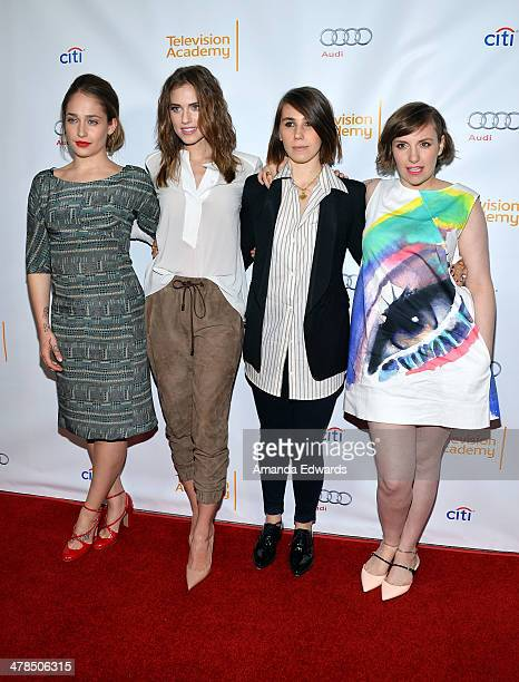 Actresses Jemima Kirke Allison Williams Zosia Mamet and Lena Dunham arrive at The Television Academy Presents An Evening With Girls event at the...
