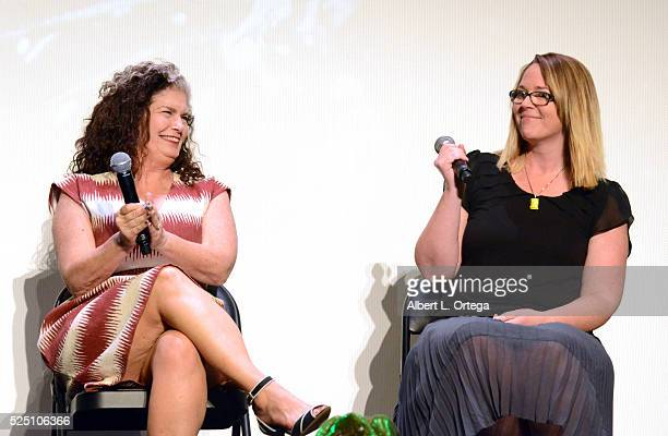 Actresses Jenette Goldstein and Carrie Henn during the Q A at the Alamo Drafthouse Mondo And 20th Century Fox Present Special Screening Of Aliens To...