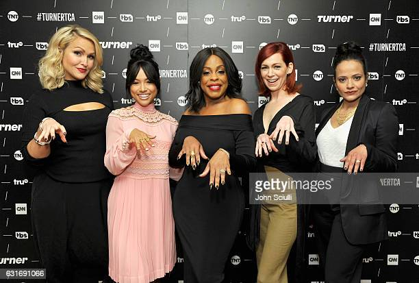 Actresses Jenn Lyon Karrueche Tran Niecy Nash Carrie Preston and Judy Reyes of 'Claws' pose in the green room during the TCA Turner Winter Press Tour...