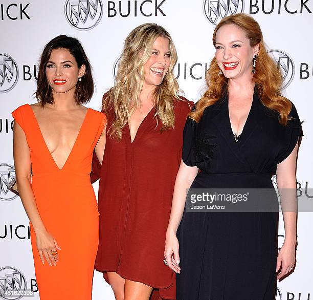 Actresses Jenna Dewan Tatum Ali Larter and Christina Hendricks attend the Buick '24 Hours Of Happiness' test drive launch event at Ace Museum on July...